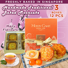 Hand Made-Traditional Baked Mooncakes BUNDLE OF 3! PURE WHITE LOTUS SERIES! 3 Different Flavours!