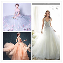 One-shoulder champagne wedding dress Brides Qi wedding dress Princess wind trumpet sleeve dress