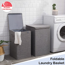 Laundry Basket - Large Foldable Laundry Dirty Clothes Hamper with Lid and Handles 90 Litre