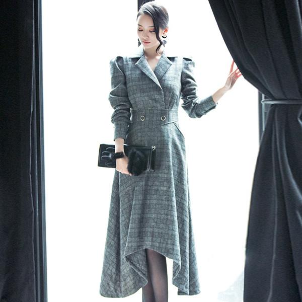「DINT」 ★送料無料★D3441♥ラグジュアリーオフィスルック♥働く女子のお洒落なオフィススタイル提案!!ソウルチェックカラワンピース