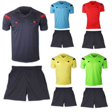 1 Set Mens Soccer Football Referee Jersey Short Sleeve Shirt+ Shorts Uniforms