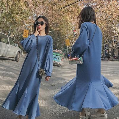 2018春 韓國ファッション Aライン ゆったり ラウンドネック フィッシュテール パフスリーブ パーカーチュニックワンピース ロング丈 フレア レディース