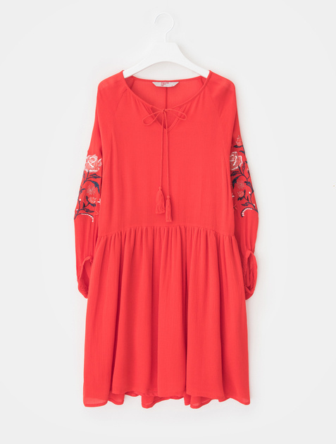 8SECONDS Flower Embroidery Midi Dress - Red