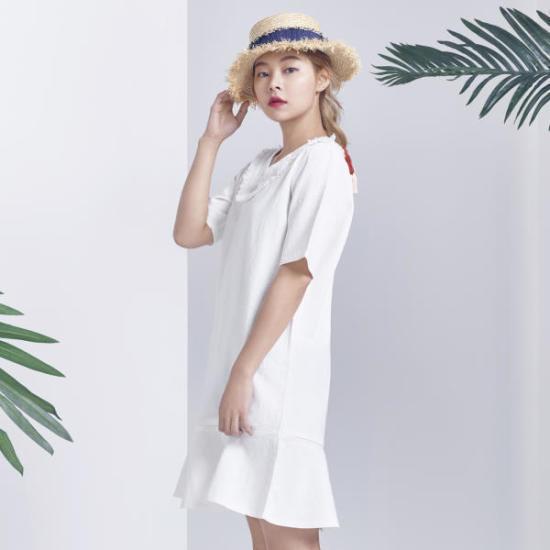 ミソストラップタッセルワンピースMIWOW7555J 面ワンピース/ 韓国ファッション