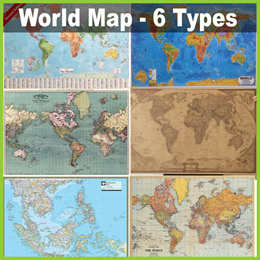 ★ World Map Poster - 6 Types! ★ Around the Globe! Diff Sizes 42 - 100cm Widths - Home Office Store