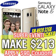 [MAKE $213] Samsung Galaxy Note5 SM-N920 32GB Smart Phone [)Refurbish = grade S]