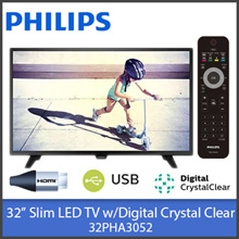 "Philips 32PHA3052 / 32"" Ultra Slim LED TV w/Digital Crystal Clear Display HD Ready"
