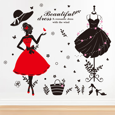 eb268e51012 Wall sticker fashion clothing shop decorative door layout wallpaper wall  mural stickers-bedroom self