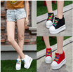 2016 spring and autumn Korean Harajuku increased within the wedge with England Loft shoes wedge
