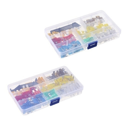 240PCS Mini+Middle Size Fuse Blade Holder Box Car Vehicle Circuit Fuses Box  Block Medium/Small 5A/