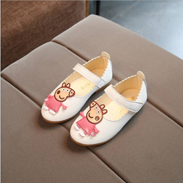 2017 girl piglet Peja qi shoes low help princess shoes flat soles small white shoes white 25
