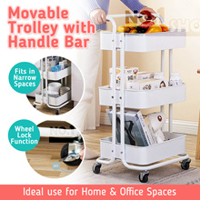【3 Tier】Multi-Purpose Movable Trolley with Handle Bar / laundry Basket / Can be used as Home Office