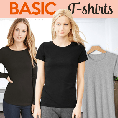 New! Women Basic T-shirt 4 Style / Short Sleeve Deals for only Rp29.000 instead of Rp29.000