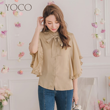 YOCO - High-necked Lotus Leaf Squirrel Sleeve Top-190014