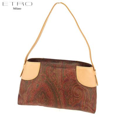 1da1f1cd1 Etro ETRO Handbag Shoulder Bag Women's Men's Paisley Brown Beige Silver PVC  × Leather Popular Goods