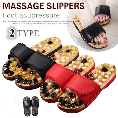 2c072793c546 Pebble Stone Foot Massage Slippers Reflexology Feet Elderly Acupuncture  Health Shoes