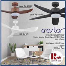Sale ON! CRESTAR/AMASCO DC-MOTOR Ceiling Fans ValueAIR/SilkAIR/ WALE 40/46/48/55 Remote + LED 3 TONE