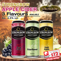 Strongbow Apple Cider 320ml x 24 Cans ($63.90 After $12 Coupon) Elderflower/Dark Fruits/Gold Apple