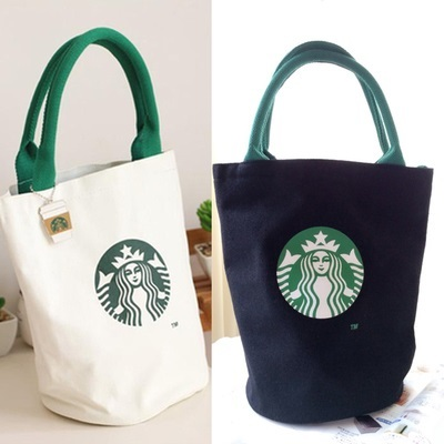 Qoo10 Starbucks 2 Colors Canvas Lunch Tote Bag With Cute Metal Cup Keychain Wallet