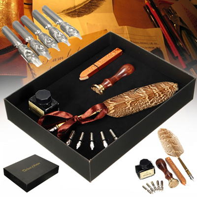 Antique Owl Feather Quill Dip Pen Writing Ink Set Rare Stationery Gift with Box