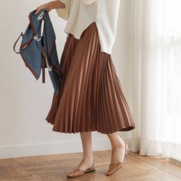 [CHICHERA] Korean fashion NO.1 / Pleats banding long skirt.W