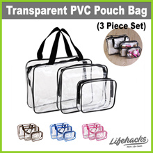 ★ Transparent PVC Pouch Bag (Three-Piece Set) ★ See-Through Multipurpose Cosmetics Organizer Cases