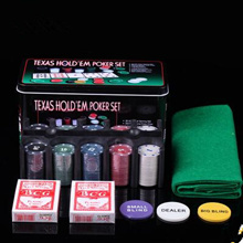 Texas Poker Set of 21 points 200 chips + tablecloth + Zhuang code + poker + iron box