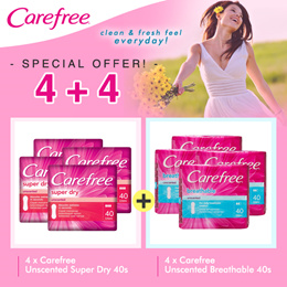 [Bundle of 8] Carefree Breathable Unscented 40s /Carefree Super Dry Unscented 40s