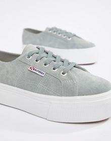 Superga 2790 Gray Suede Flatform 4cm Sneakers