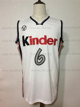 Manu Ginobili 6 Virtus Kinder Bologna European Basketball Jersey White  Stitched Retro Mens Shirts a2a7547e9