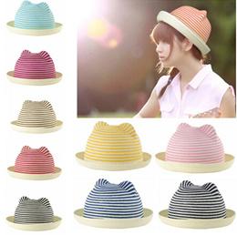 Cute Women Girls Straw Hat Stripes Cat Ears Straw Fedora Rolled Brim Domed  Cap Sun Hats ce3505cc6742