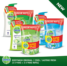 Dettol Anti-Bacterial Shower Gel Twinpack + Refill Twinpack (Original/Cool/Fresh)