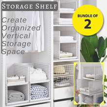 Bundle of 2 Multi-Purpose Storage Shelf Create Organized Vertical Shelf Space Wardrobe Cabinet
