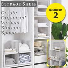 Bundle of 2 Multi-Purpose Storage Shelf Create Organized Vertical Shelf Space Wardrobe Cabinet