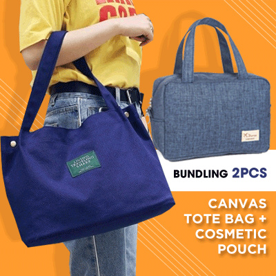 BUY TOTE BAG FREE POUCH! WOMEN KOREAN IMPORT CANVAS BAG 5 COLORS Deals for only Rp120.000 instead of Rp120.000
