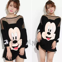 Plus Size M-4XL Cute Mickey Netting Design Fashion Dress