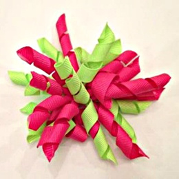 Lime Green Pink Kids Curly Ribbon Hair Clips Girls Big Bow Headbands Baby Accessories Cheap Children Valentines Day Gift