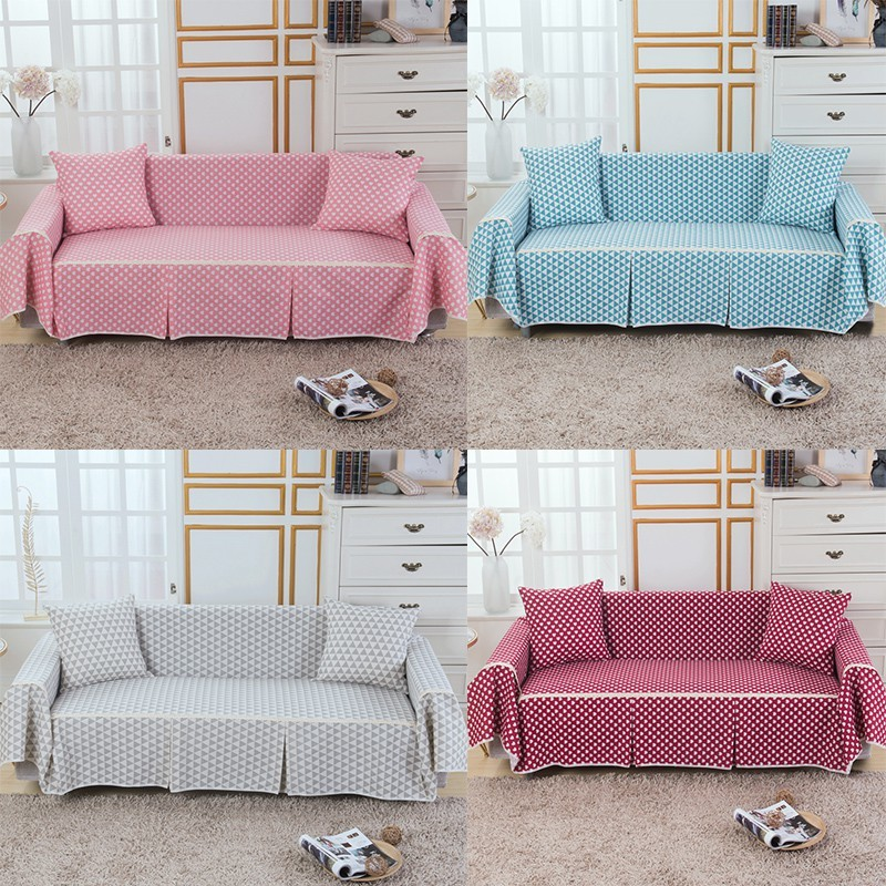 Cotton Home Sofa Cover Printed Single/2 Seater/3 Seater/4 Seater Sofa  Protecter Decoration 18 Color