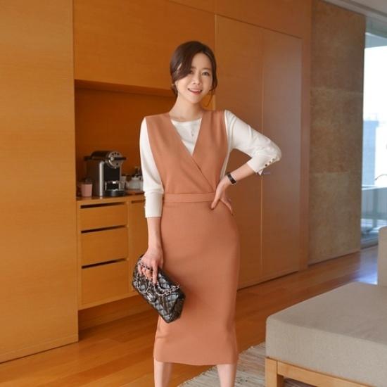 悪女日記】ニットつりワンピース 綿ワンピース/ 韓国ファッション
