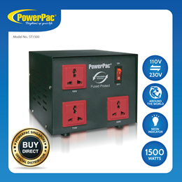 PowerPac 1500W Heavy Duty Voltage Regulator Converter 110V / 220V Transformer (ST1500)