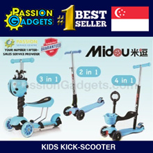 [Local Seller!]♥Latest LED Wheel♥Midou Scooter 2in1/4in1/5in1! Adjustable Toddler Kids Children Kick