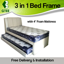 3-in-1 Pull Out Bed | Single / Super Single | Sturdy Frame | Free Installation