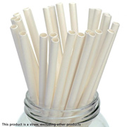 [25pcs Paper Drinking Straws] Solid White Paper Straws for Wedding Party Kids Birthday Party Decorat