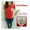 Kaos Ribbon Red / Kaos Pita Merah / Kaos Wanita Murah / Bahan Adem Nyaman Dipakai