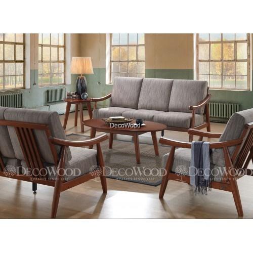 Khaki Gold Solid Wood Sofa Set 3 Seater