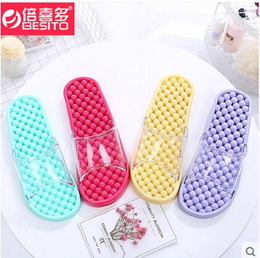 Slipper female summer indoor non-slip bath leakage home health male point foot shoes massage cool