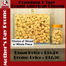 Premium Round American Ginseng ! 1 Tael For Only $19.90 ! Choice of Sliced Or Whole.
