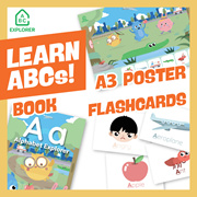 Alphabet Explorer SET (School of Concepts) Phonics Book Flashcards Poster! Learn to read and write