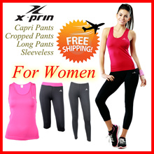 XPRIN For Women Lady Capri Cropped Pants Sleeveless Bra Base Layer Compression Performance Tights Rash guard Swimming Sports Wear