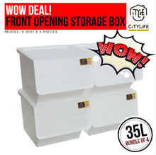 WOW DEAL! - Bundle of 4 - Citylife Stackable Storage Box with Front Opening 35L
